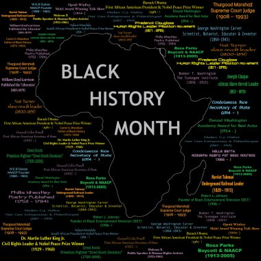 Vector Illustration for black history month including names, time periods and what each person did. See others in this series. Makes a great poster large print. clip art vector