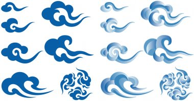 Chinese or Japanese style clouds clip art vector