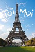 Paříž Eiffelova věž Francie během západu slunce