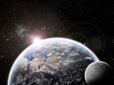 Eclipse on earth / planetscape artwork