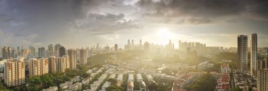 Aerial Singapore skyline from Tiong Baruh area a