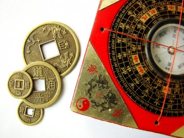 Feng shui compass and coins