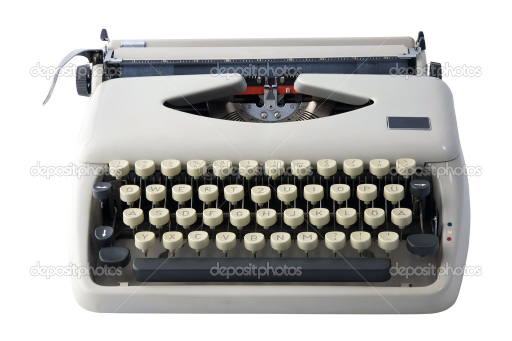 7a1edc16873 Old typewriter, isolated on a white background with clipping path. — Photo  by jura13