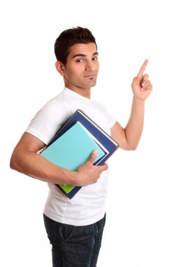 University Student Pointing his finger