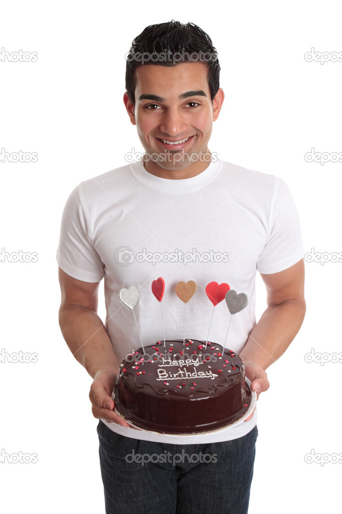 Man chocolate cake decorated with heart