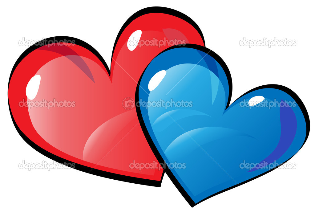 Red and blue hearts — Stock Vector © longquattro #2571366