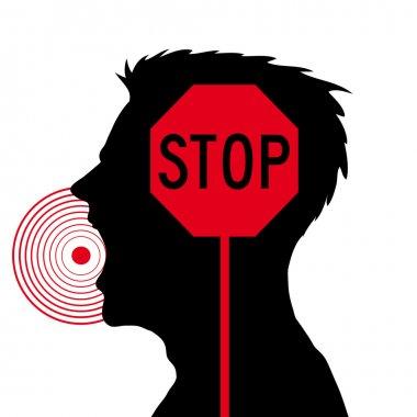 Men screaming,stop sign