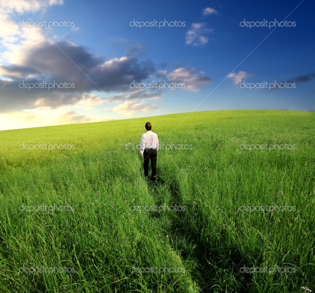 Businessman walking in the fields