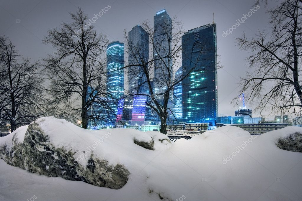 Skyscrapers of Moscow in the winter