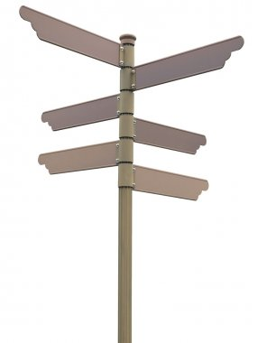 Isolated blank direction signpost