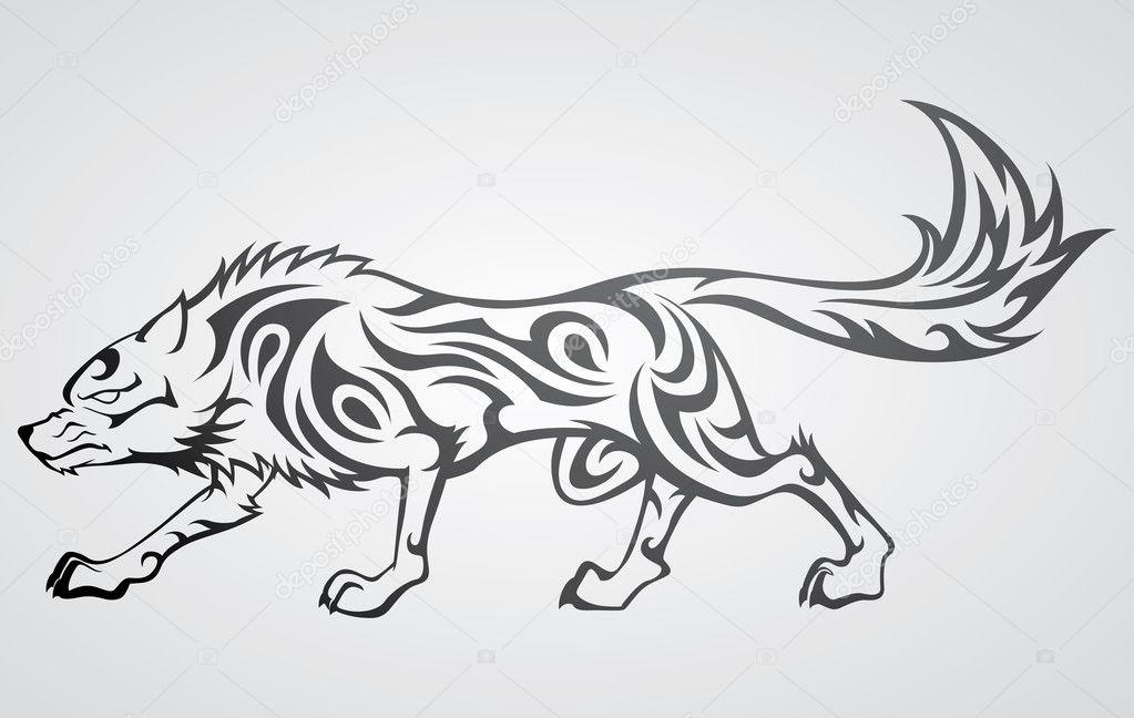 Tatuaż Tribal Wilk Grafika Wektorowa Kuzzie 2451837