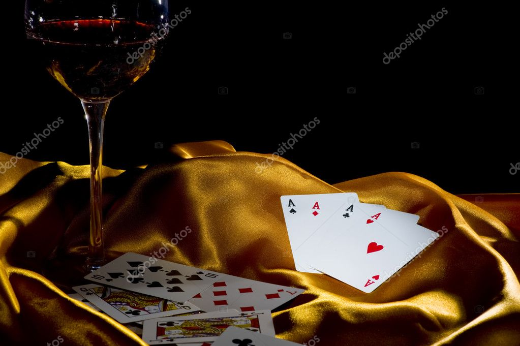 Poker ace and wine
