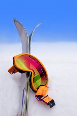 Goggles in Snow with Skis