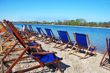 Blue folding chairs