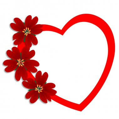Red flowers and heart