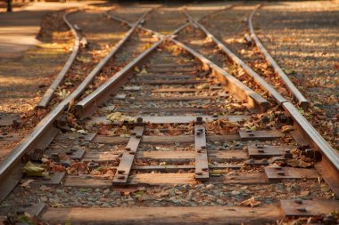 Close up railroad tracks switch