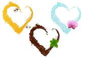 Fotografie drei flüssigen Herzen, Vektor