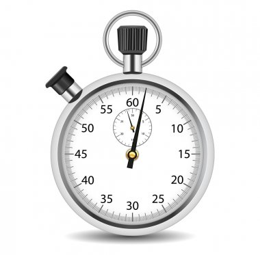 Analog stopwatch on a white background