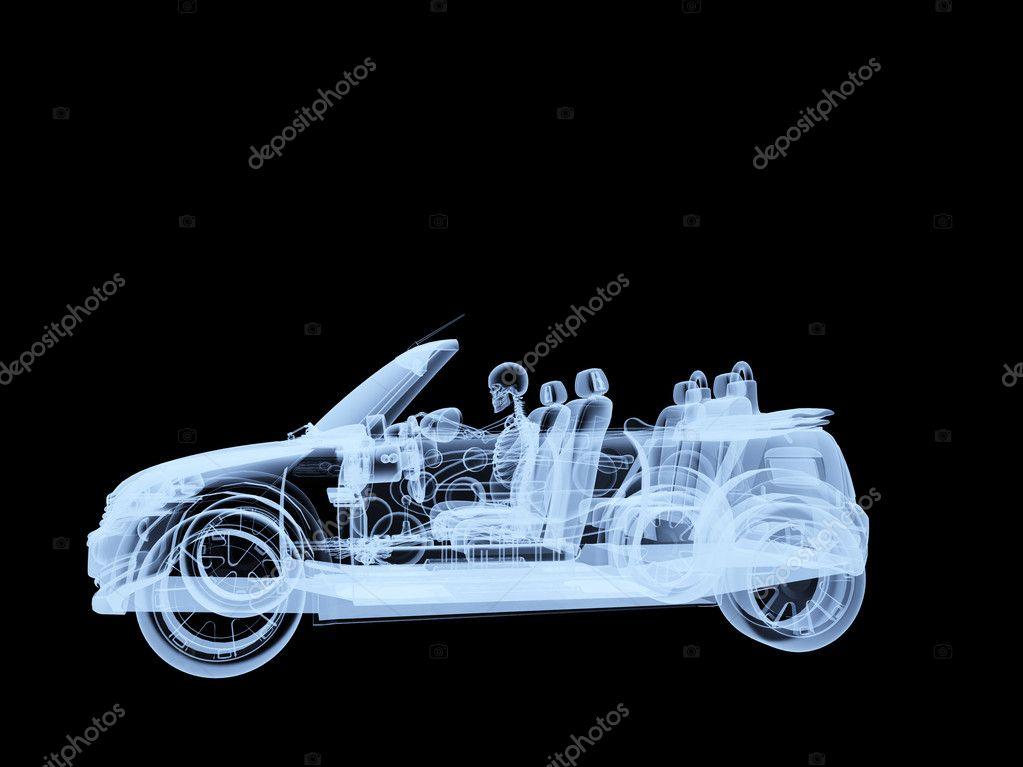 esqueleto de rayos conduciendo un coche — Fotos de Stock ...