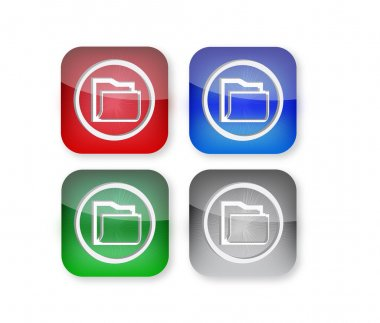 Red blue green and silver icons icon