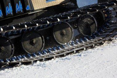 Working Piste machine (snow cat) detail