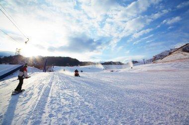 Mountain ski resort slope