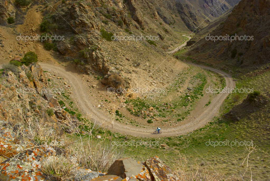 Small Mountain biker on old road