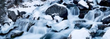 Cascades on a mountain river in winter