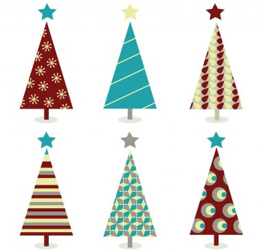 Blue - red christmas tree icon set