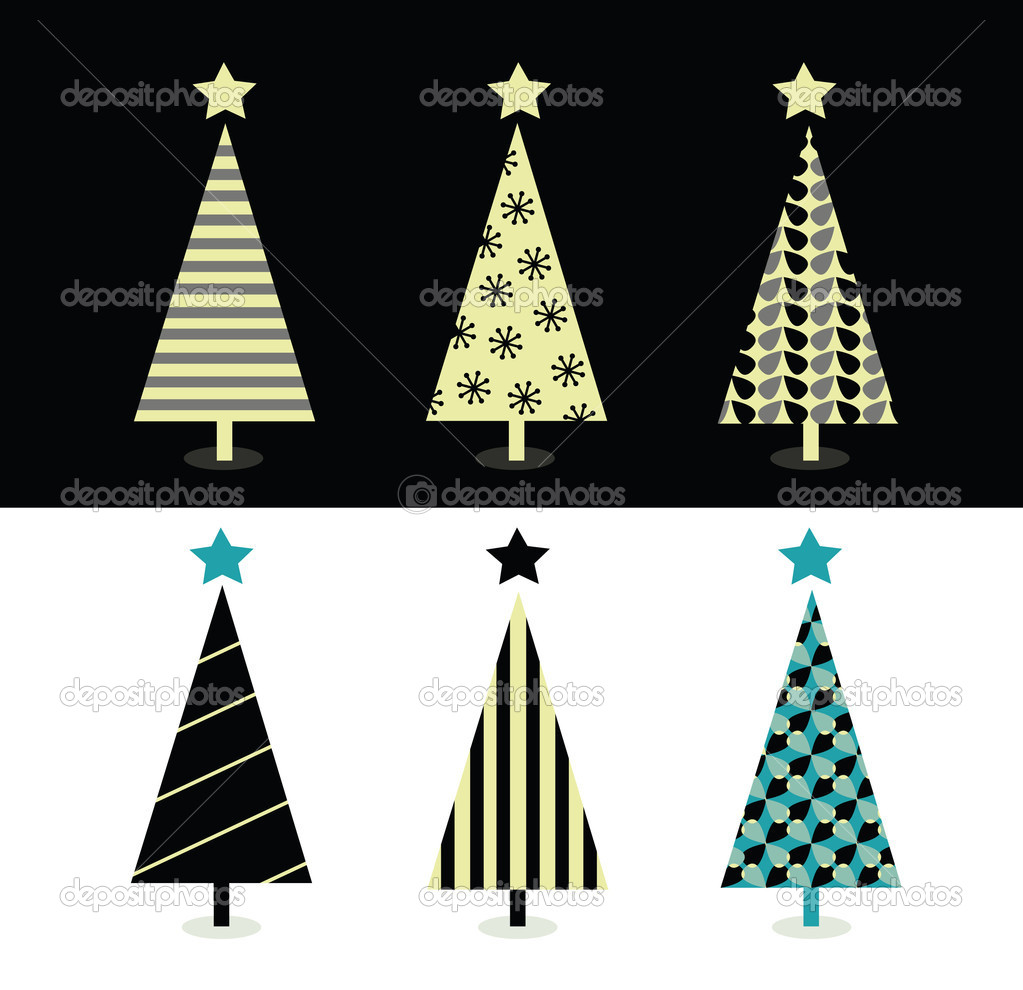 Desenho De árvore De Natal De Preto E Branco