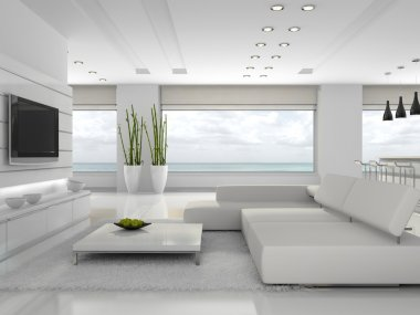 White interior of the stylish apartment 3D rendering stock vector