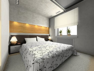 View on the modern bedroom