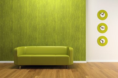 Green interior with sofa