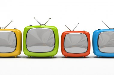 Four colorful television sets isolated on white background 3D rendering stock vector