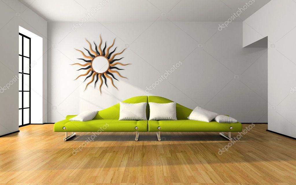 Modern Green Sofa modern interior with green sofa — stock photo © hemul75 #2612274