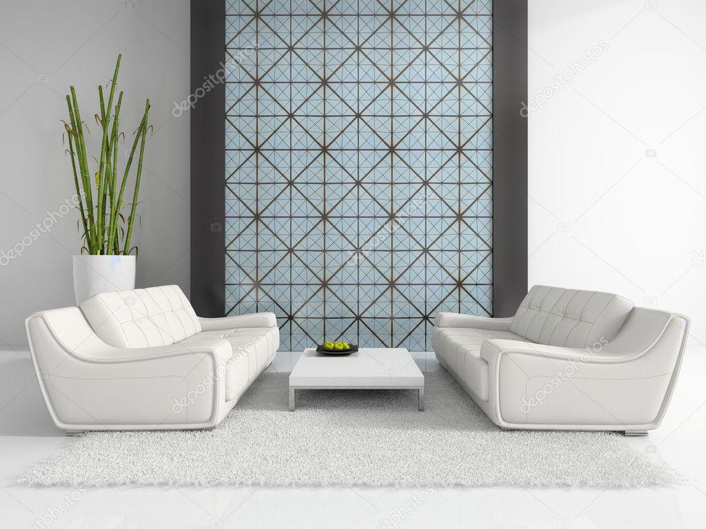 Divani Bianchi Moderni : Interni moderni con due divani bianchi u foto stock hemul