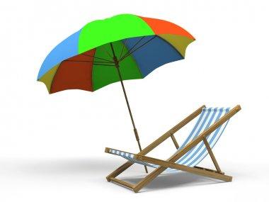 Chaise longue and sunshade