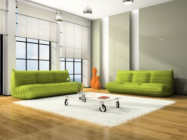 Modern interior with green sofas