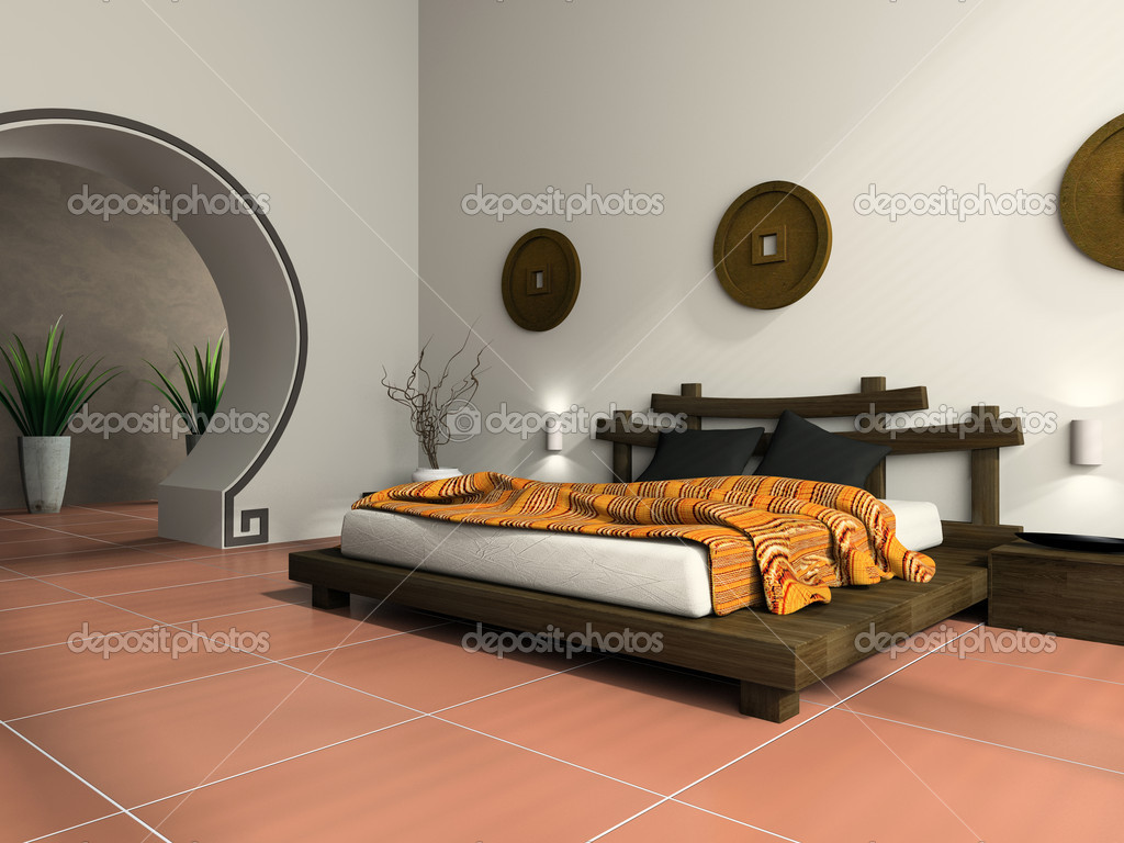 moderna camera da letto in stile etnico — Foto Stock © hemul75 #2648290