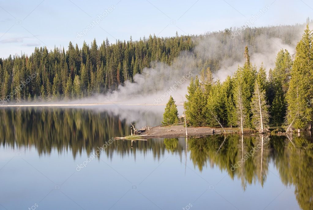 Geyser Reflections on Yellowstone Lake