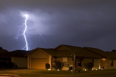 Lightning strike at night