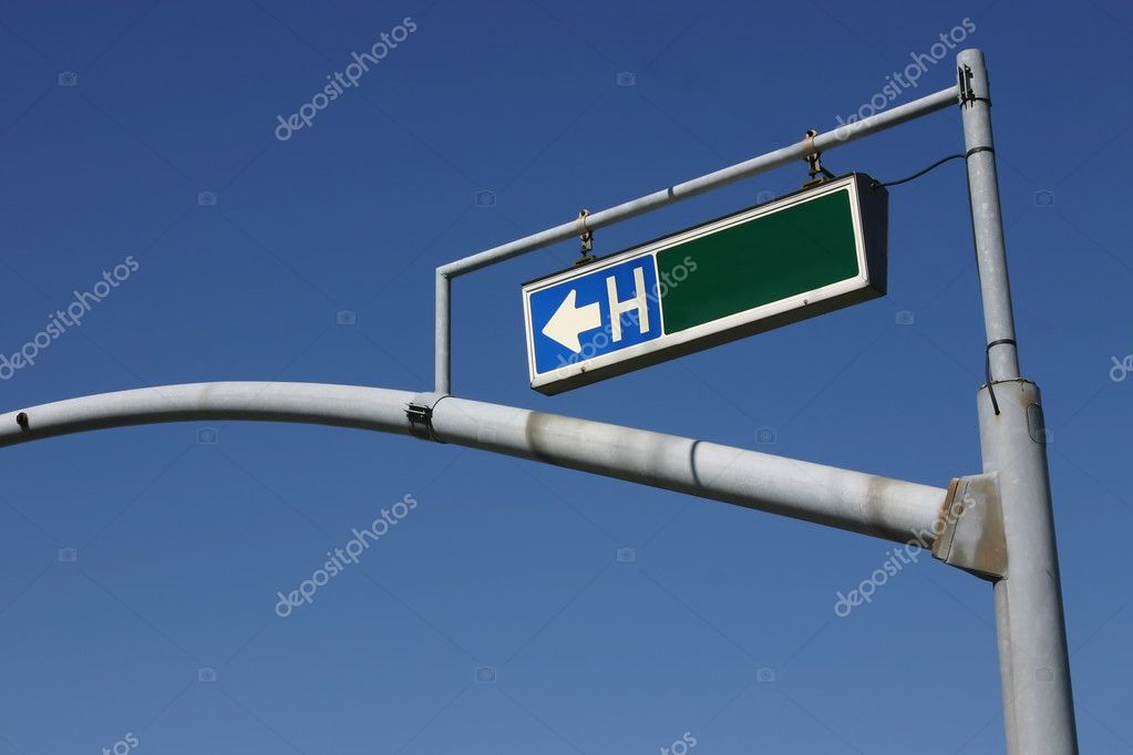 Traffic Light Pole with Hospital Sign