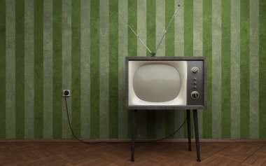Old TV in empty room with green striped wallpapers stock vector