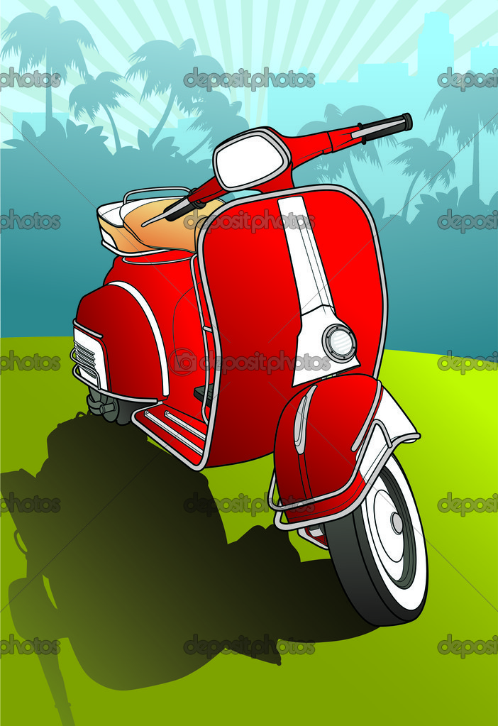 Red scooter vector background