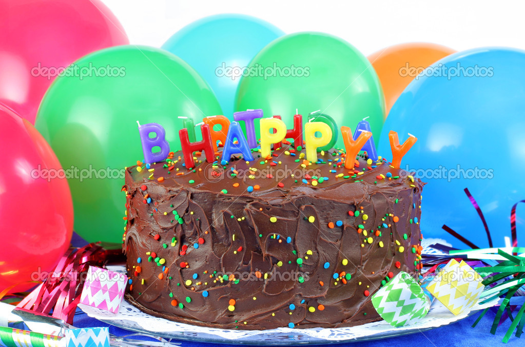Birthday Cake and Balloons Stock Photo rojoimages 2616192