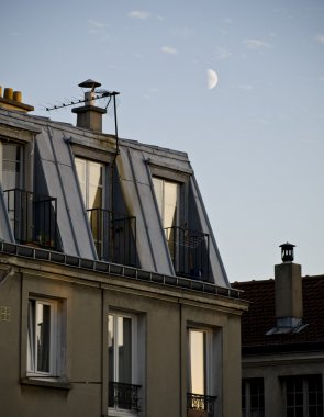 Day half-moon over the parisian roofs