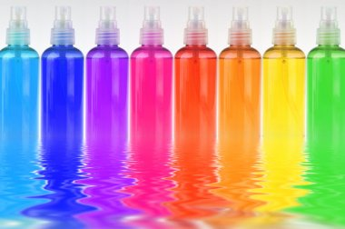 Many colored bottles