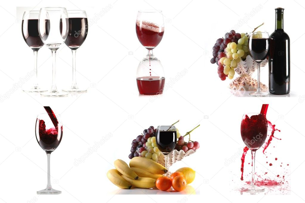 Wine and fruits on white background colage stock vector