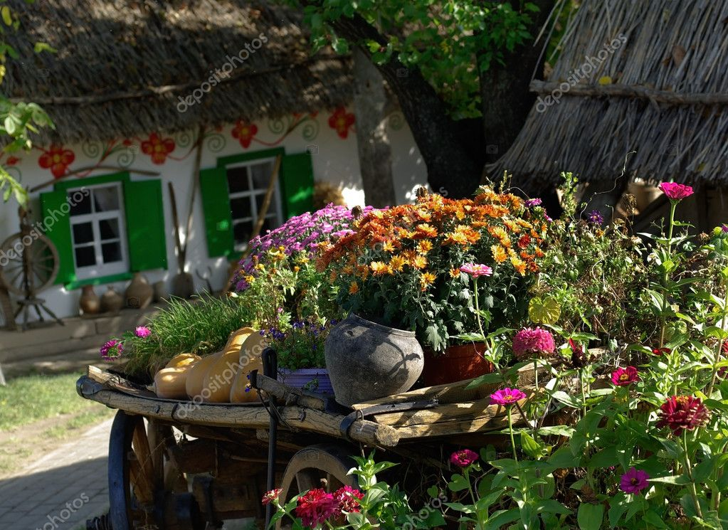 Autumn Flower And Vegetable Cart Stock Photo