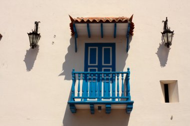 Detail. Colonial house. Typical balcony